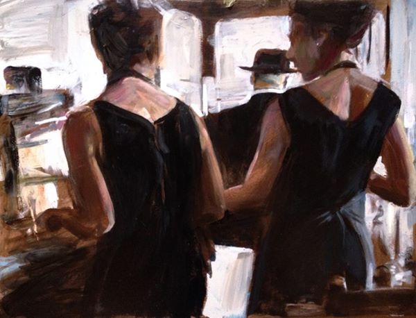 Cafe scene - by Nick Garrett acrylic and oil on panel 001