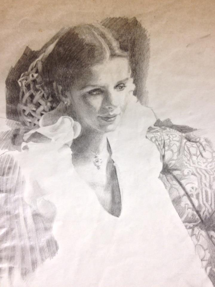 Portrait of a girl - Nick Garrett - pencil